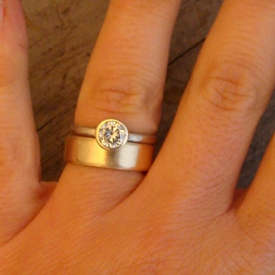 Yellow Gold Engagement Ring With White Wedding Band Photo 1